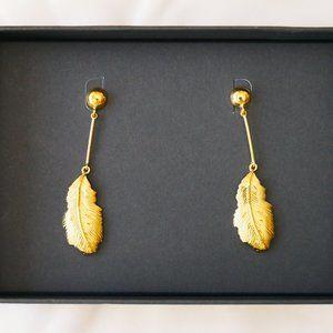 J. CREW Demi-Fine: Golden Feather Drop Earrings